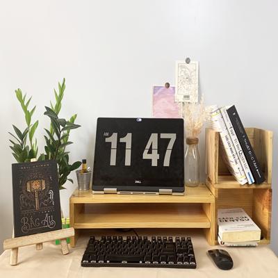 Kệ màn hình máy tính gỗ 2 tầng